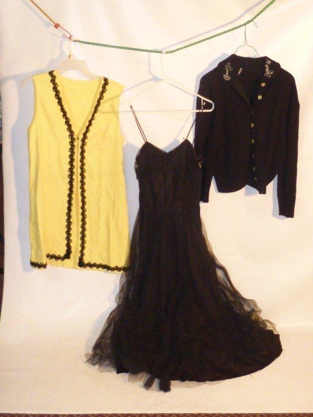 Group lot: Organza Dress, vest, cardigan.