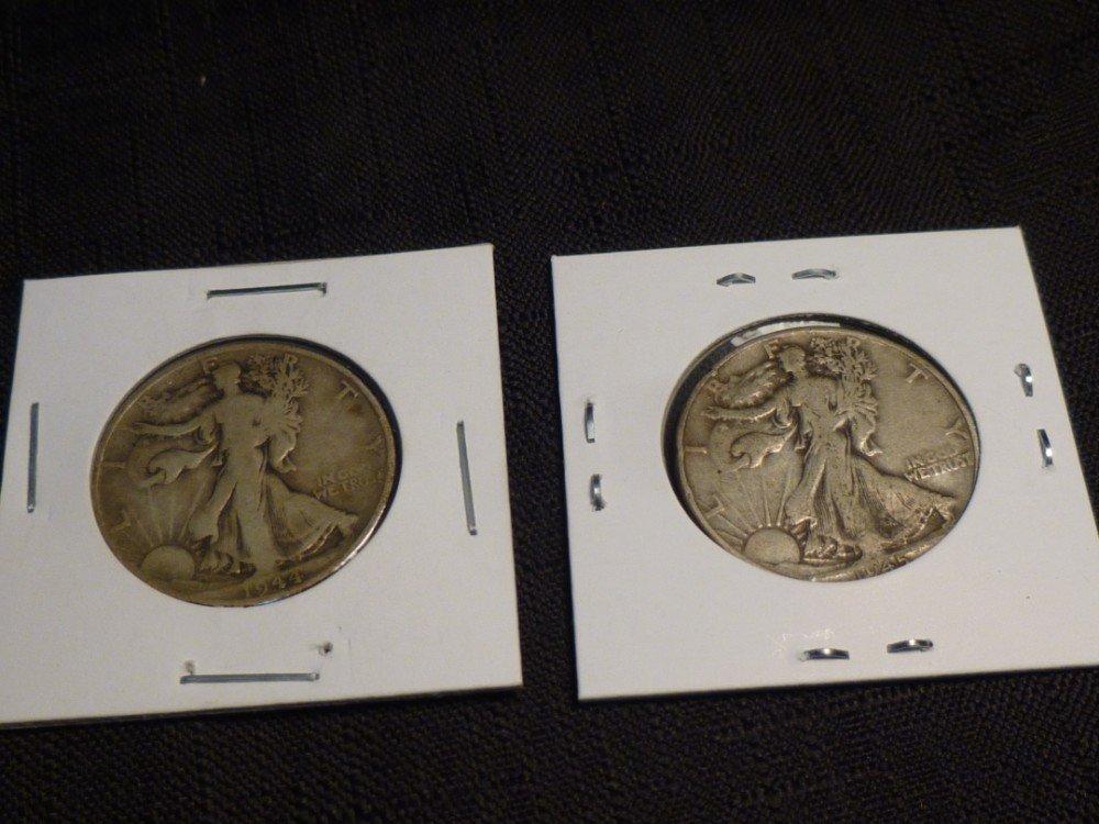 2 Walking Liberty half dollar silver coins.