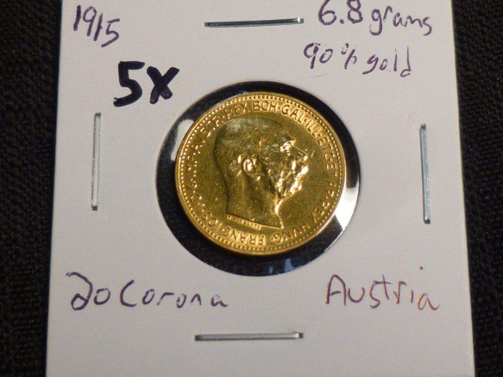 1915 Austria 20 Corona coin.