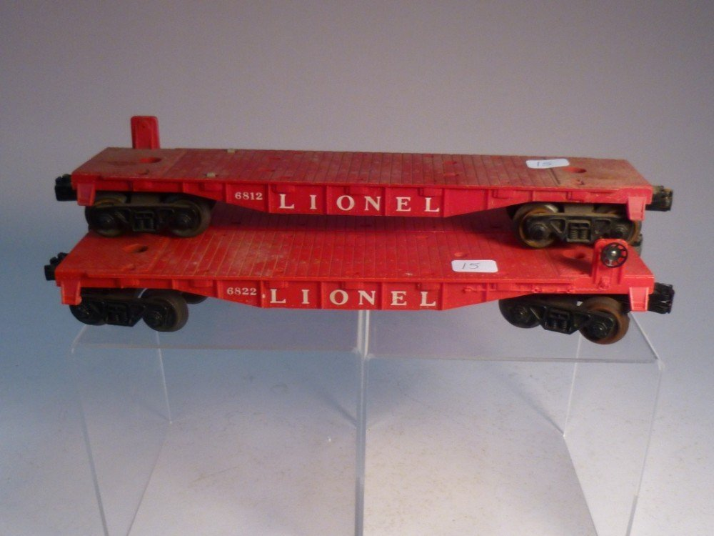 3 Lionel Model railroad flatbed cars