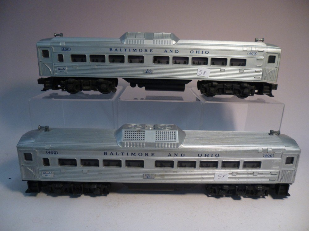 2 Lionel 400 Baltimore and Ohio observation cars