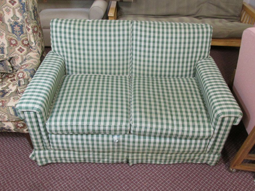 Green Checkered love seat