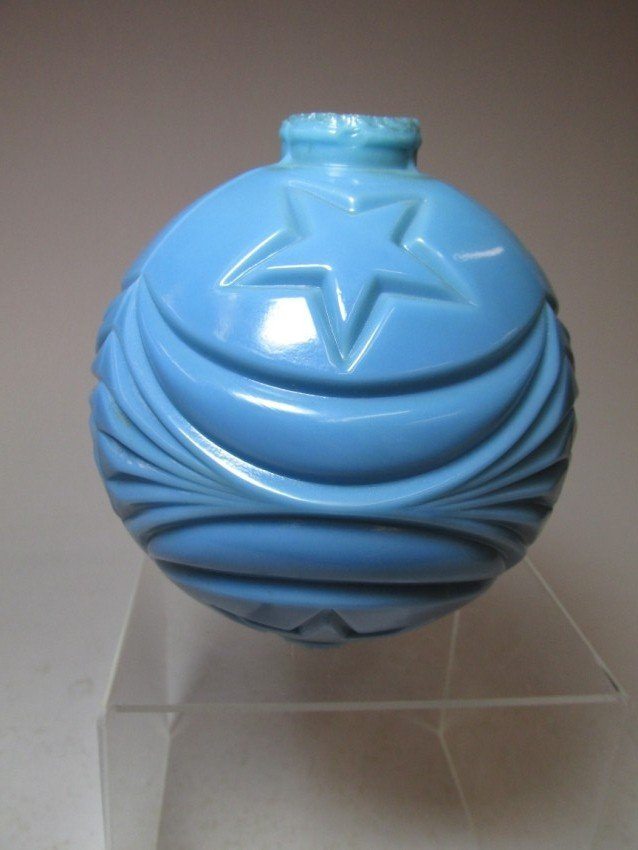 Blue Milk Glass Lightening Rod Globe