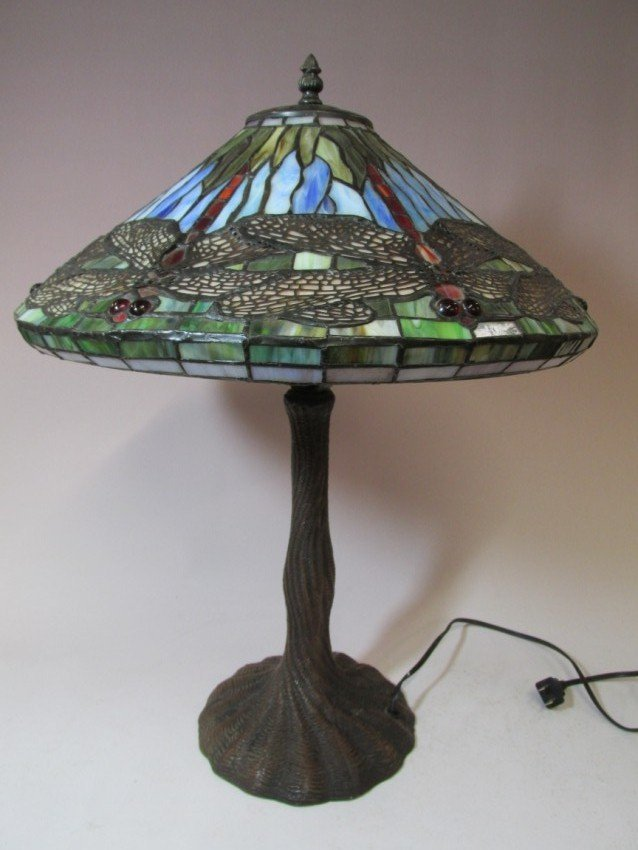 Vintage Slag Lamp with Dragonflies