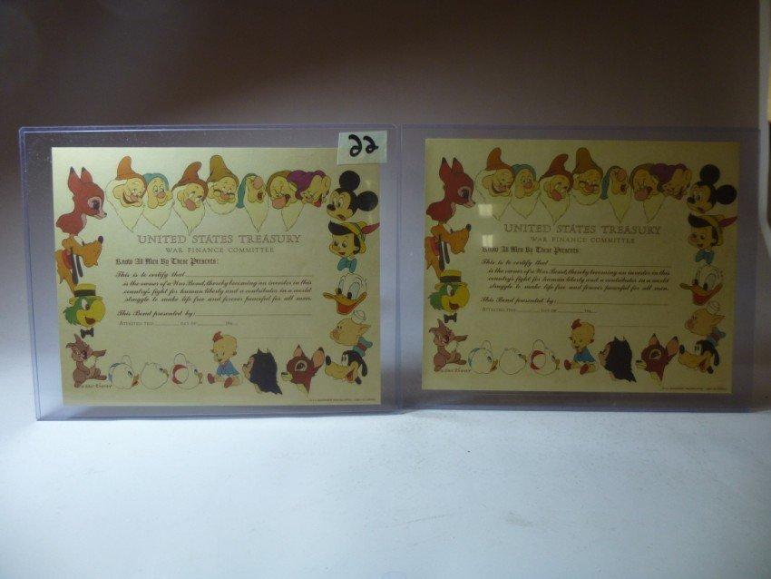 Pair of Disney Treasury Bond Documents