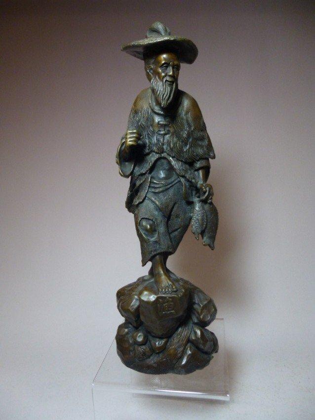 Chinese Bronze Fisherman Statue