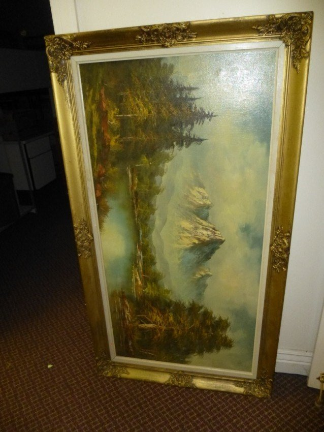 Large oil on canvas Mountain Scene