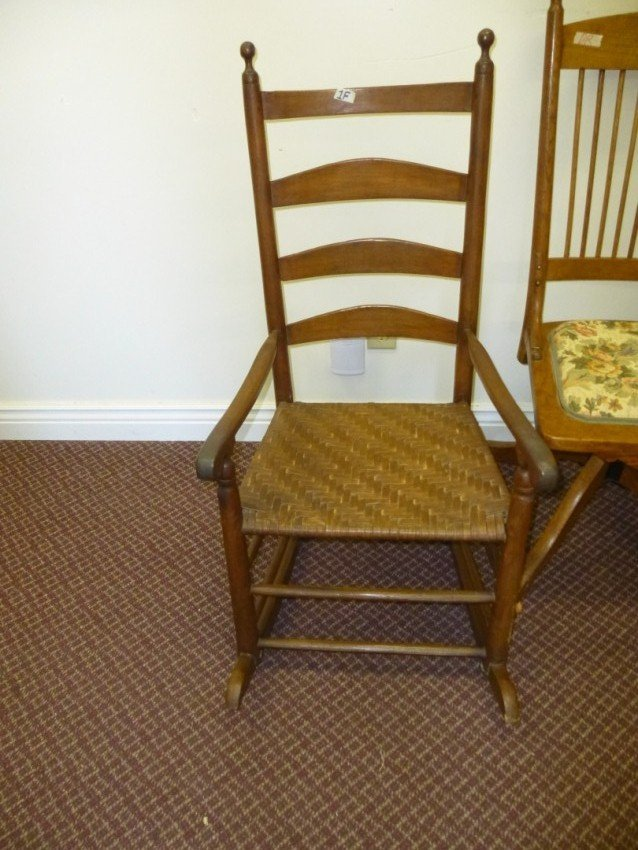 Reed Bottom Wooden Rocking Chair.