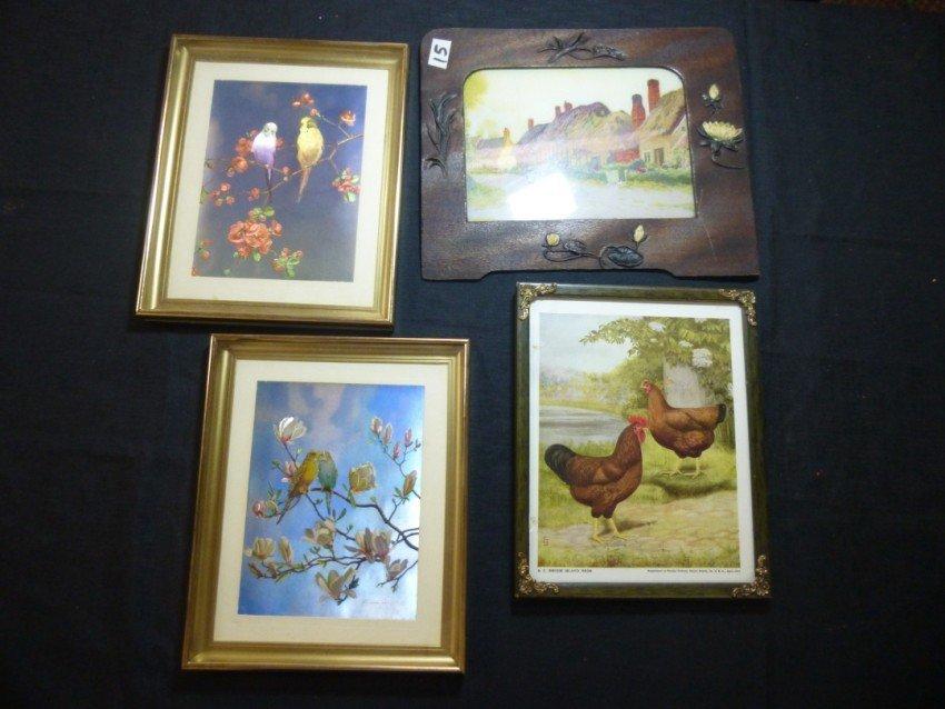 Stack of framed pictures