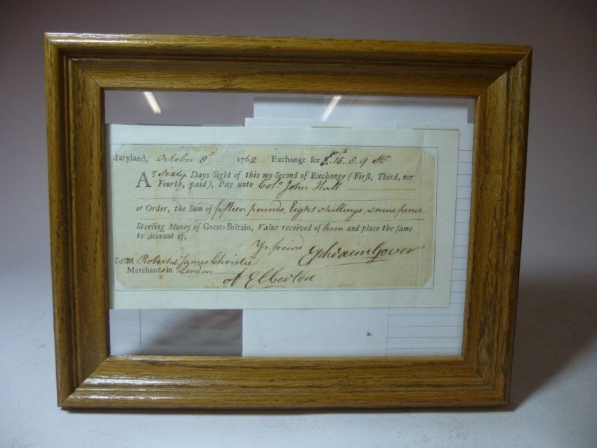 Framed 1762 Colonial American Document.