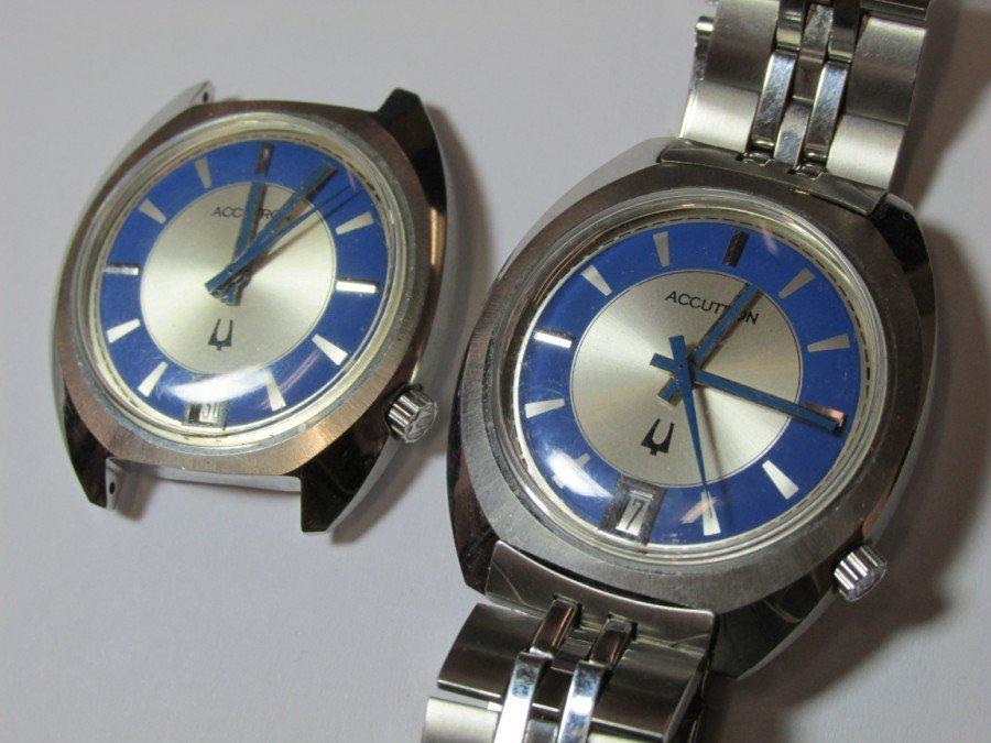 2 Rare Bulova Accutron Watches w/Blue Faces