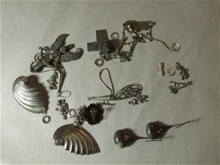 Large lot of sterling silver jewelry items
