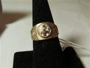 Antique Gold Filled Enamel Fraternal Ring