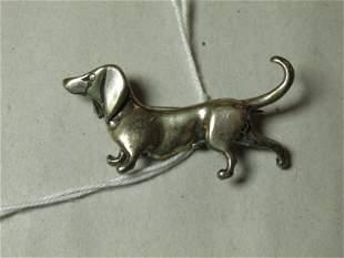 Vintage Sterling Silver Dog Pin