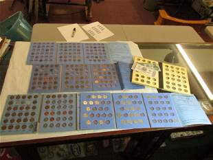 Group lot of coin collector books, contents