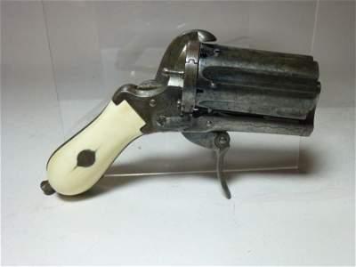 Ivory Handled Belgian Pin-Fire Pepperbox Pistol