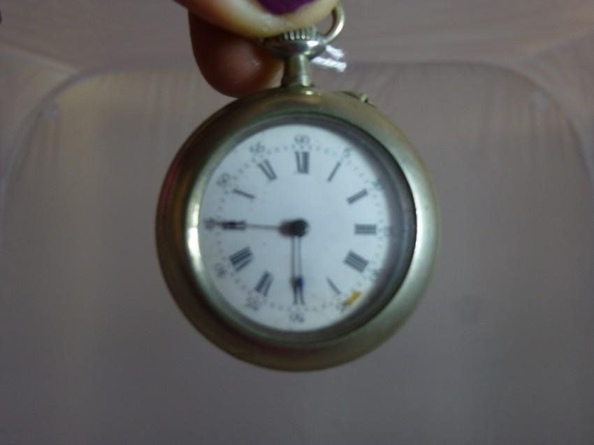Old Pendant Pocket Watch w/Swans Case