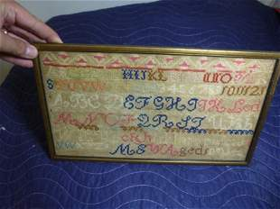 Early Hand worked 19th c. Sampler