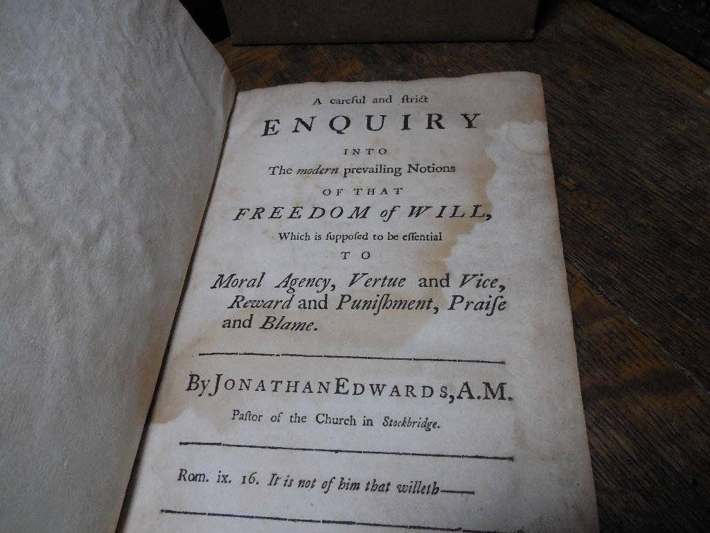 Rare Book 1754 Jonathan Edwards Freedom of Will Boston