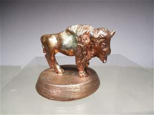 Vintage Buffalo Desk Paperweight Statue