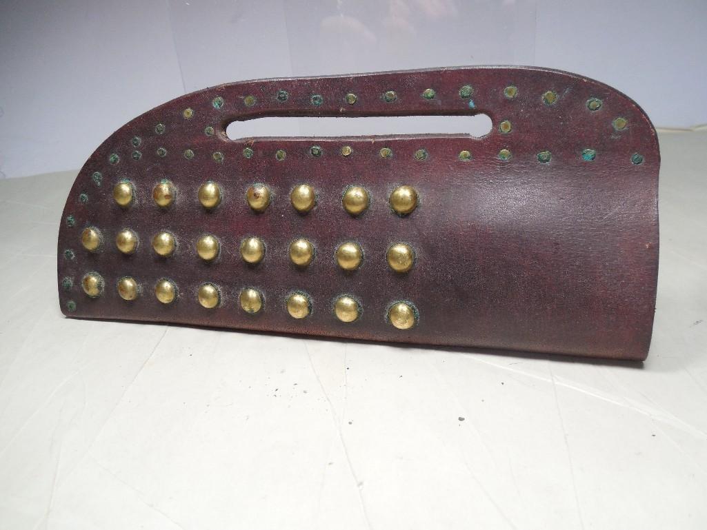 Antique Western Brass Tacked Knife Sheath