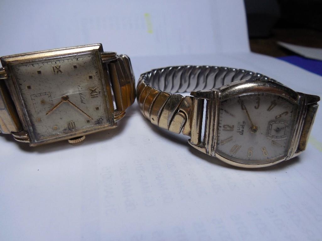 2 Men's Gold Filled Watches Elgin De Luxe, Cortebert