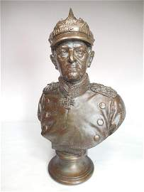 Rare WWI Metal Bust Prussian Officer Helmuth Von Moltke