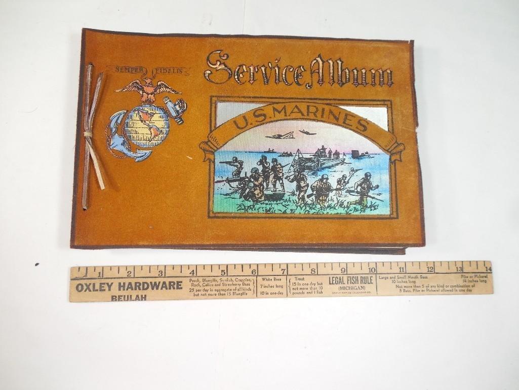 Antique WWII US Marine Corps Military Photo Album - 10