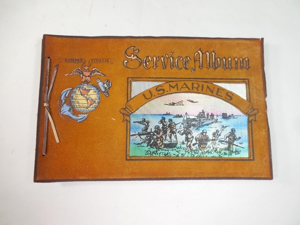 Antique WWII US Marine Corps Military Photo Album