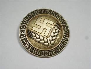 Nazi German Female Hitler Youth Labor Service Pin
