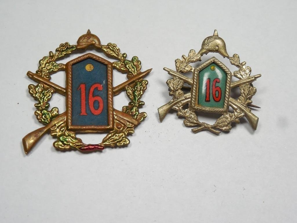 Two WWI Imperial German Corp Badges w/Spiked Hats