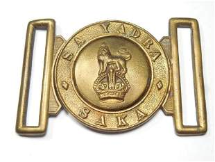 Unusual Two Piece Military Belt Buckle w/Lion