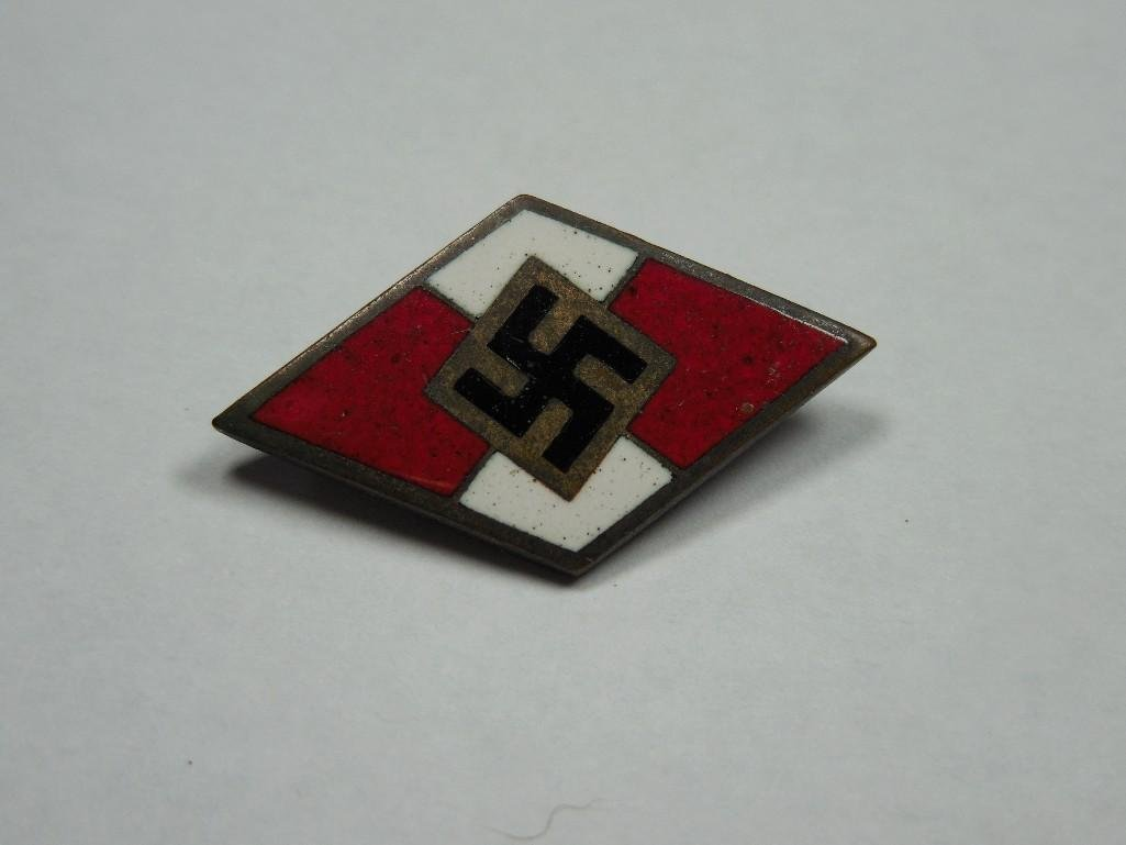 Red and White Enamel Hitler Youth Hat Pin Device