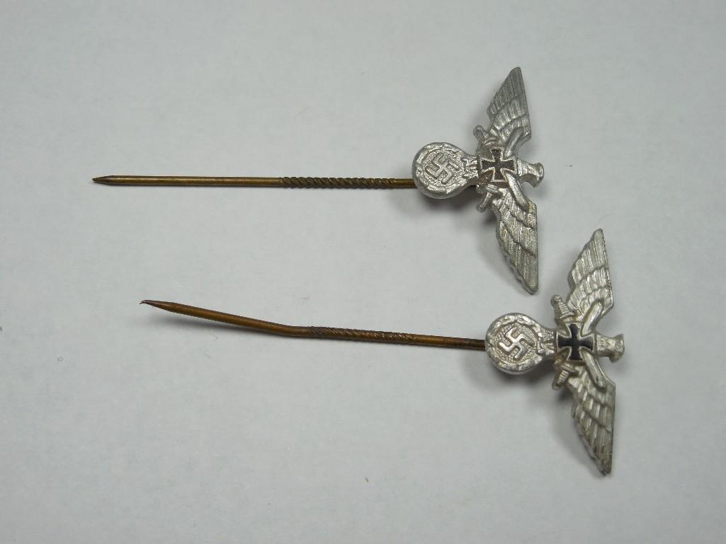2 Nazi German Veteran Eagle Swastika Stick Pins