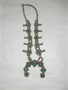 Turquoise Sterling Silver Squash Blossom Necklace