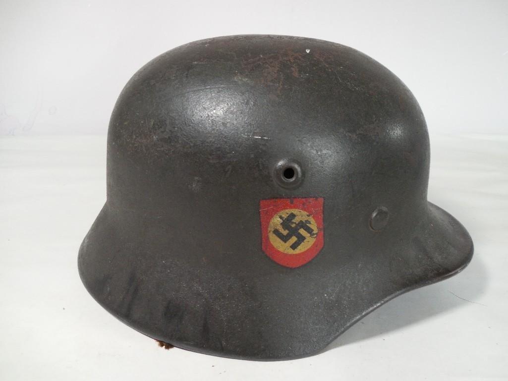 Rare Nazi German Military Helmet w/Decals Both Sides