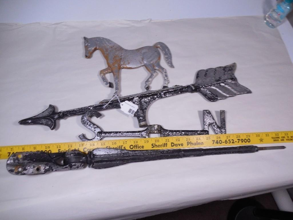 Vintage Cast Aluminum Horse Weathervane