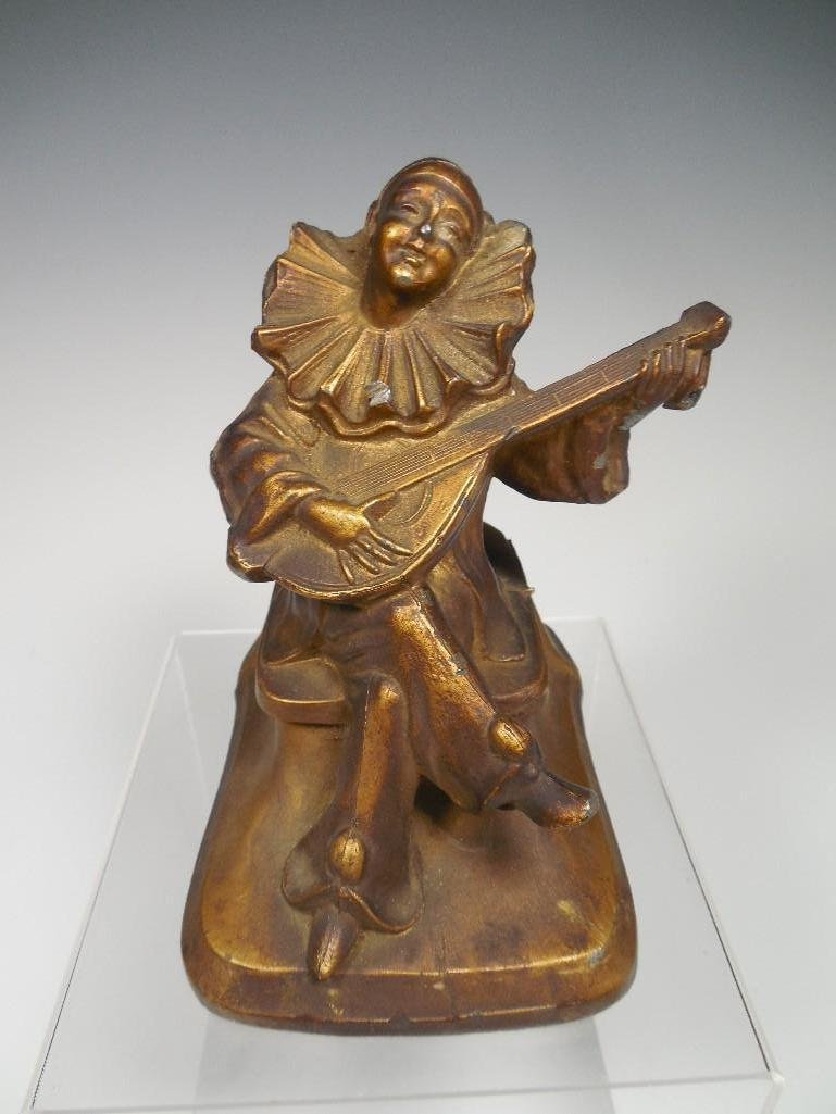 Antique Clown bard Playing Guitar Statue