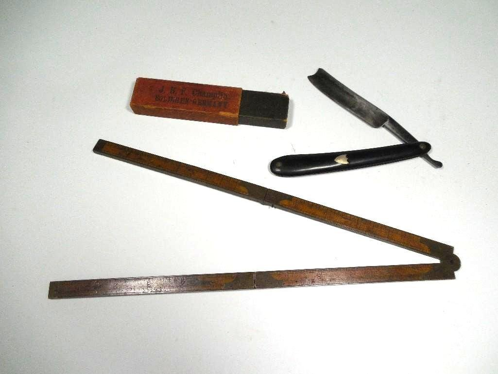 Group Lot - Early Straight Razor, Stanley Measure