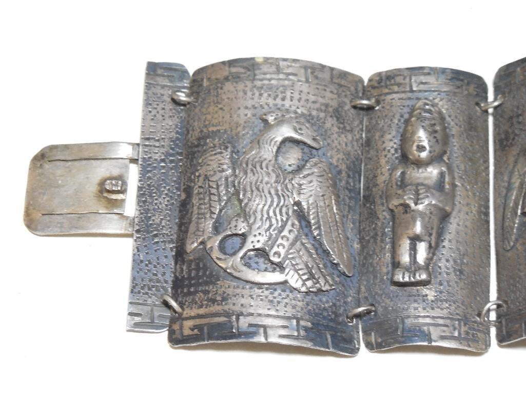 Old ~Sterling Silver Double Headed Eagle Bracelet - 2