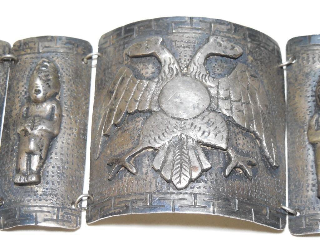 Old ~Sterling Silver Double Headed Eagle Bracelet - 3