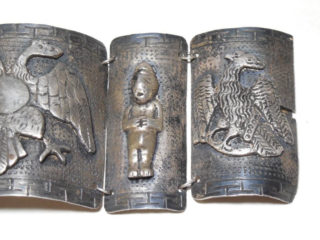 Old ~Sterling Silver Double Headed Eagle Bracelet - 4
