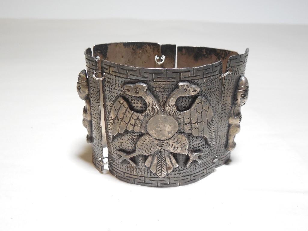 Old ~Sterling Silver Double Headed Eagle Bracelet - 8