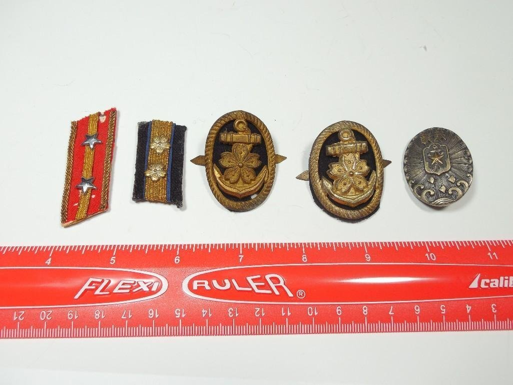 Group Lot WWII Japanese Medals, Pins, Ribbons - 8