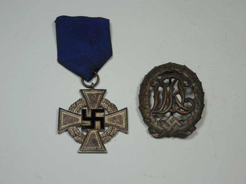 German WWII 25 Year Service Medal + Sports Badge
