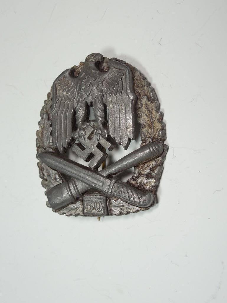 Nazi German WWII 50 Class General Assault Badge