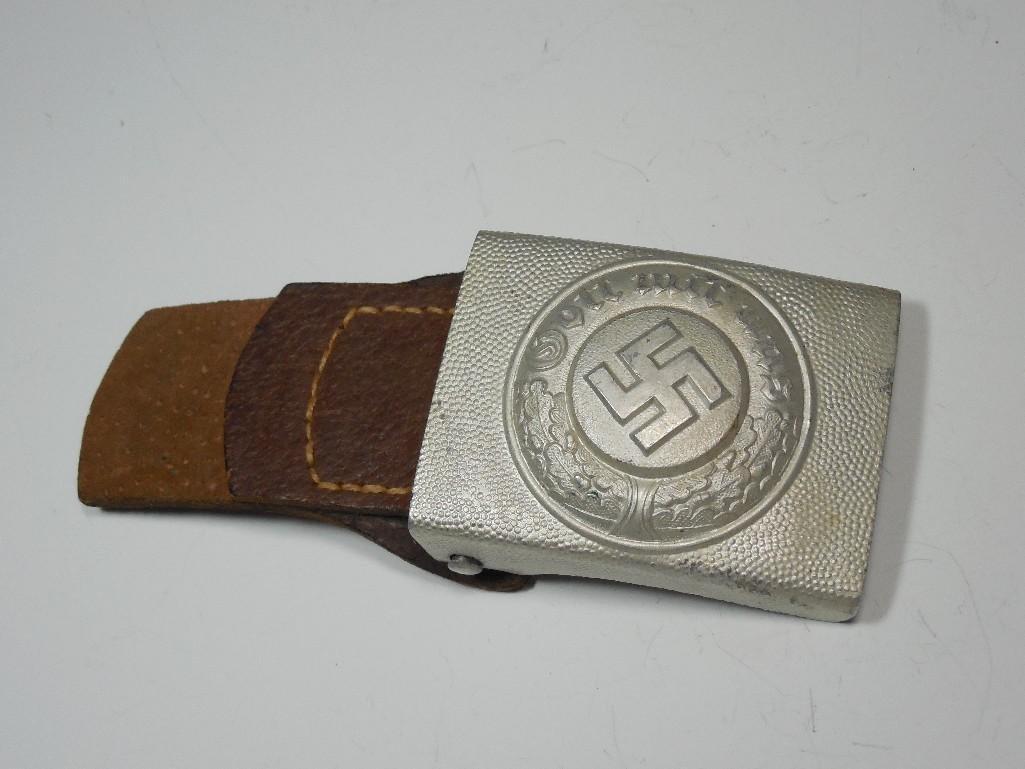 Nazi German WWII Police Buckle w/Leather Tab