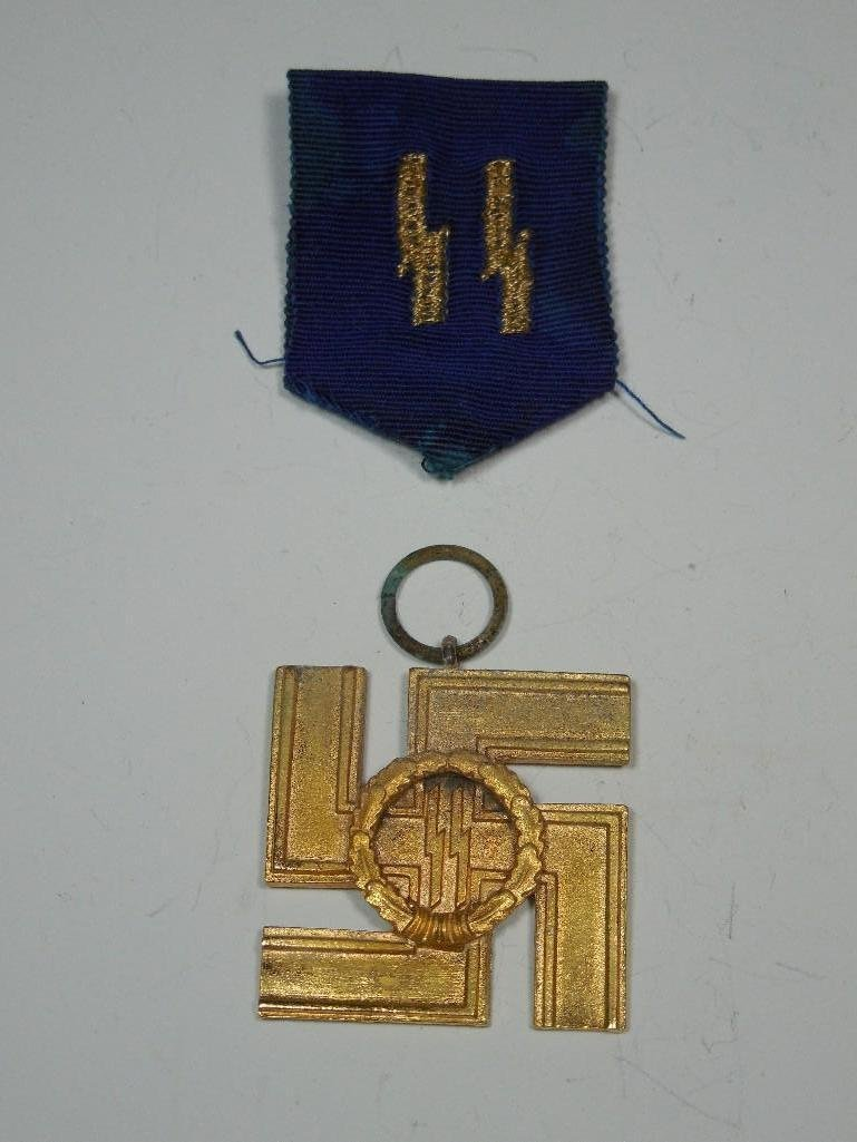 Rare WWII German SS Service Medal with Ribbon