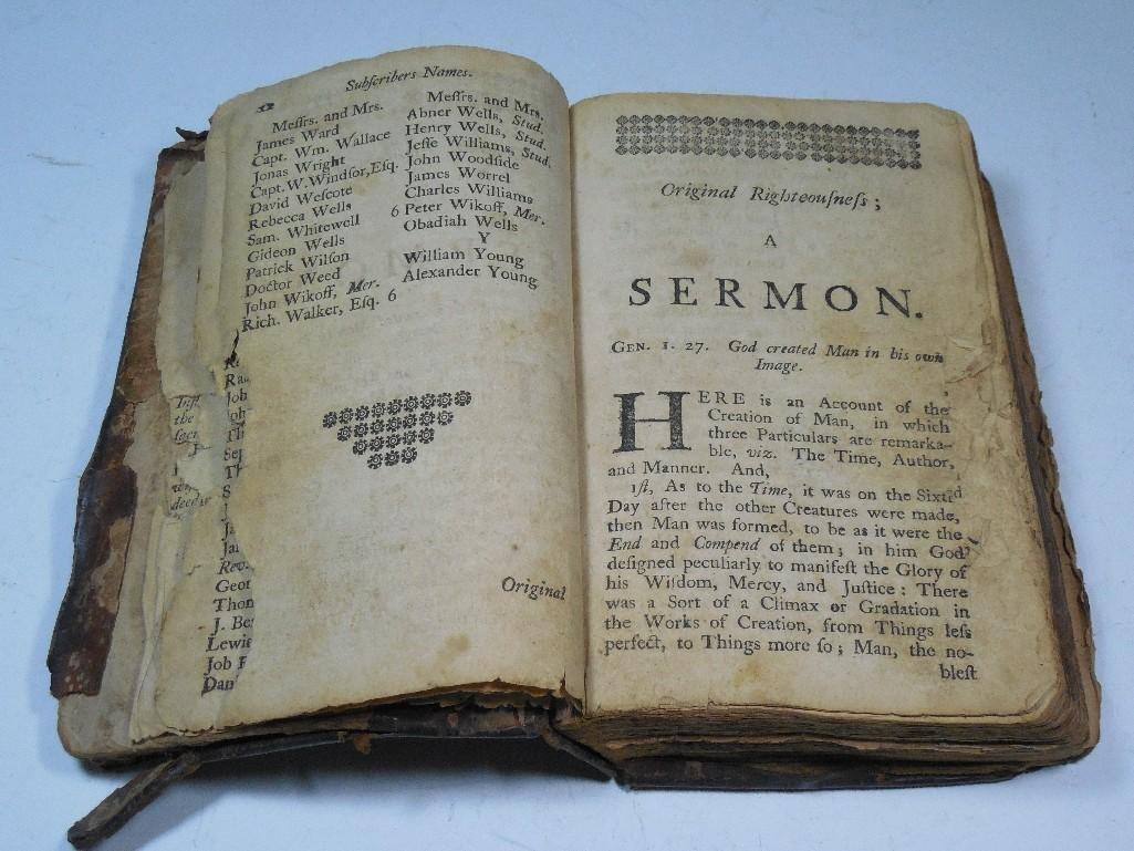 Early American 1757 Sermon Book -Gilbert Tennent