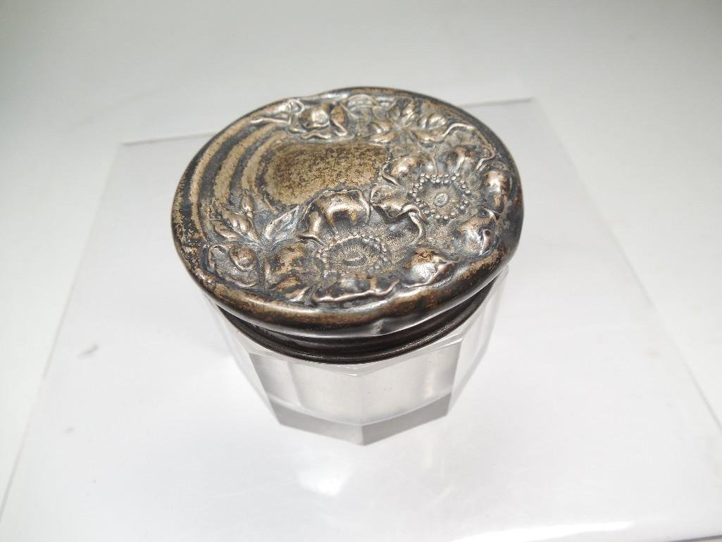 Antique Sterling Silver, Glass Pill Bottle or Jar